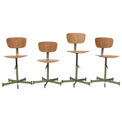 Midcentury Plywood Drafting Stools