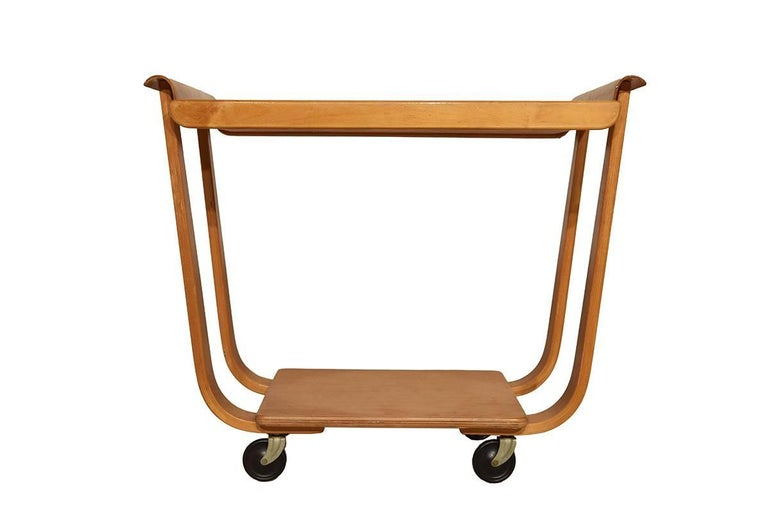 Midcentury plywood trolley by Cees Braakman for Pastoe, Netherlands, circa 1950 named PB01. Truly timeless Dutch design. High quality birch plywood. This would make a great addition to any modern or midcentury interior.