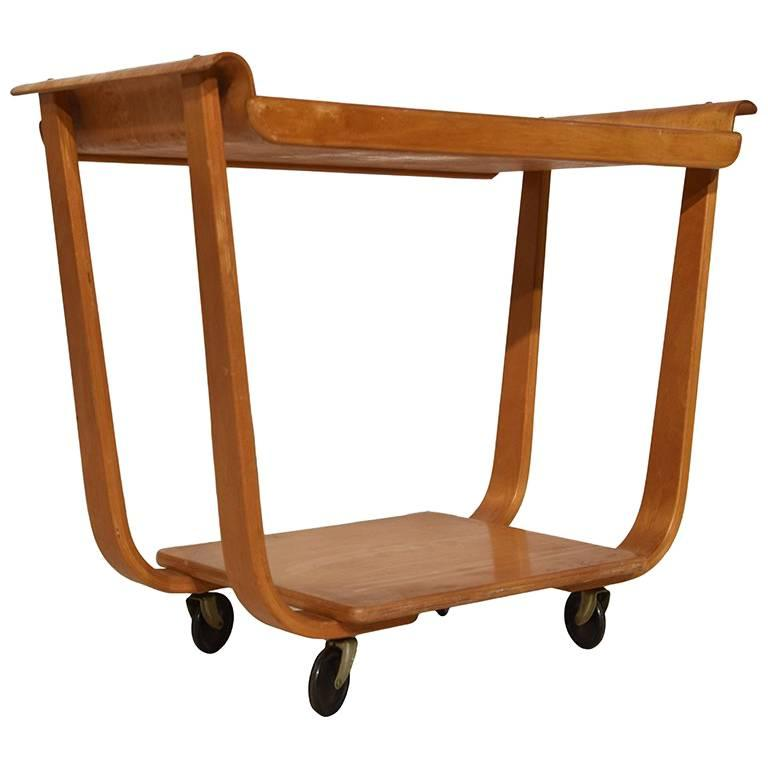 Midcentury Plywood Trolley by Cees Braakman for Pastoe, Netherlands, 1950 For Sale