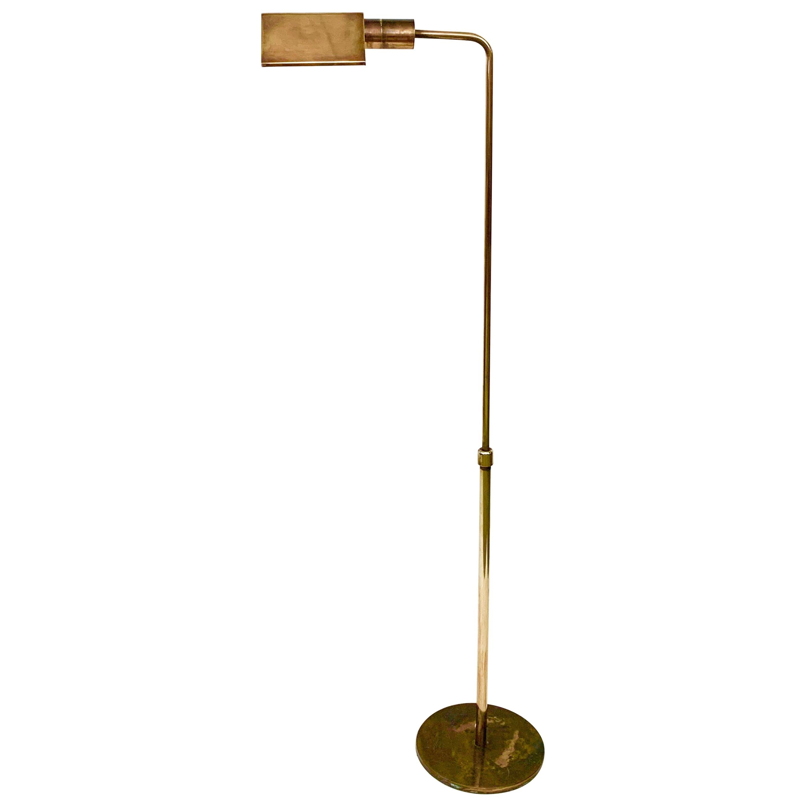 Midcentury Polished Brass Adjustable Italian Reading Floor Lamp, 1960s