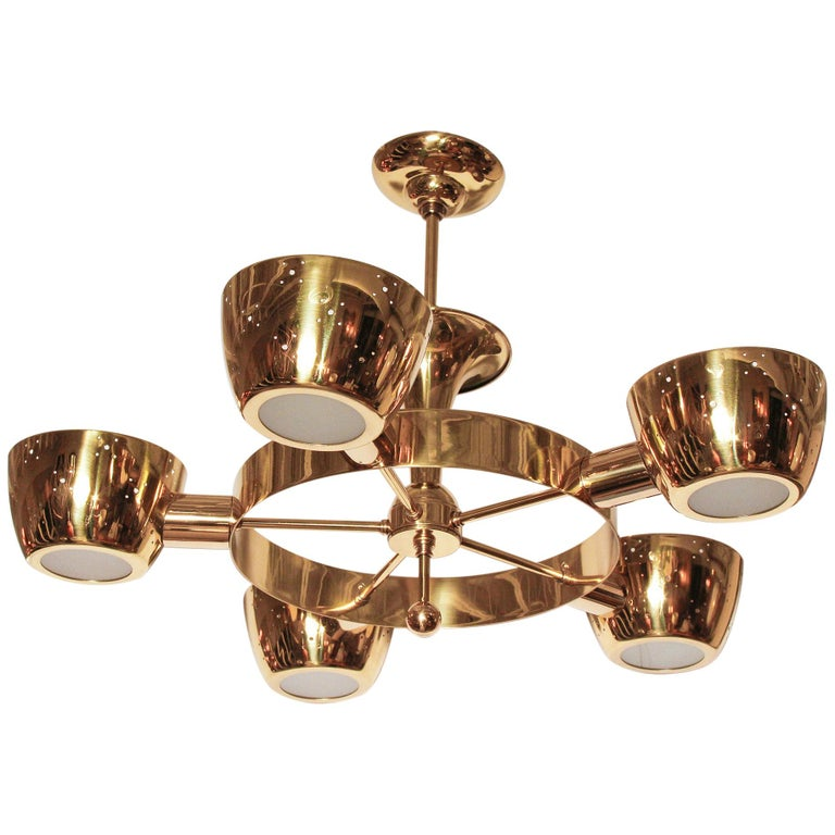 Midcentury Polished Brass Chandelier by Lightolier For Sale