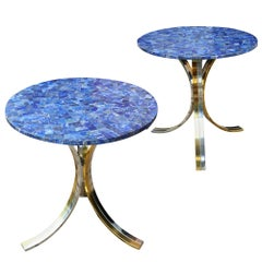 Midcentury Polished Chrome and Brass End Tables Attributed to Willy Rizzo, Pair