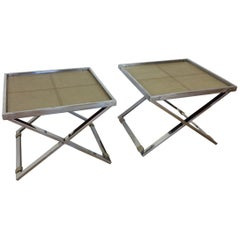 Midcentury Polished Chrome X-Frame Tables with Inset Shagreen Tops