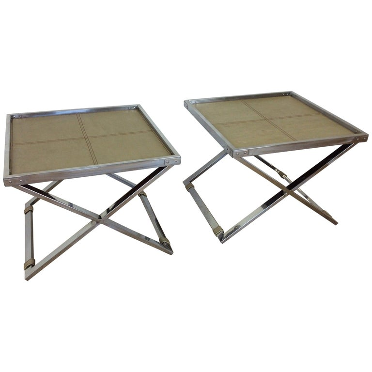 Midcentury Polished Chrome X-Frame Tables with Inset Shagreen Tops For Sale