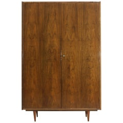 Midcentury Polished Walnut Wardrobe, 1960s