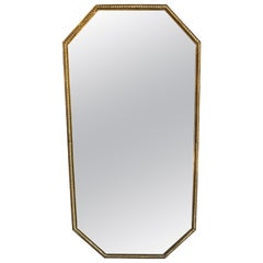 Midcentury Polygonal Thick Brass Framed Wall Mirror, Italy, 1950s