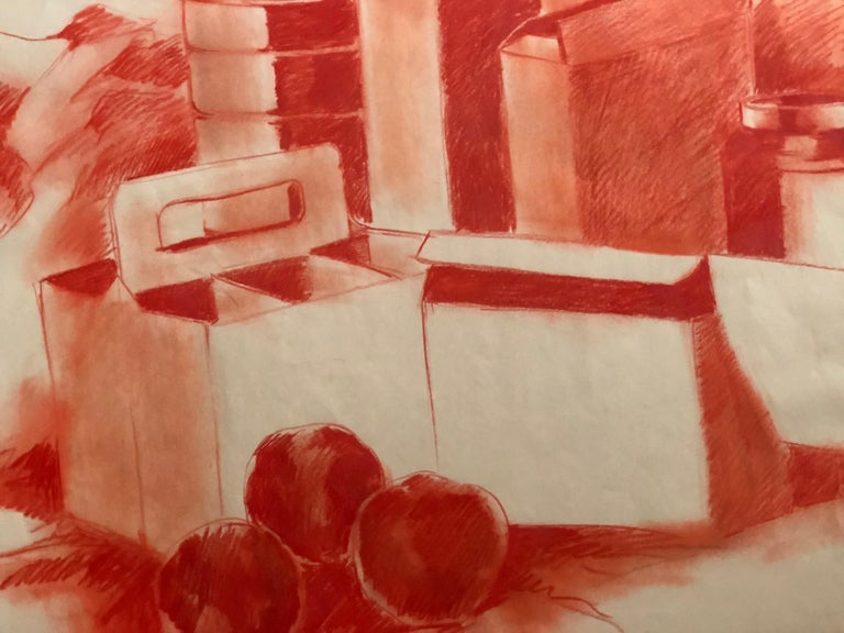 Mid-Century Modern Mid-century Pop Art Red Still Life Drawing Sketch by Salvatore Grippi, 1960s Mod For Sale