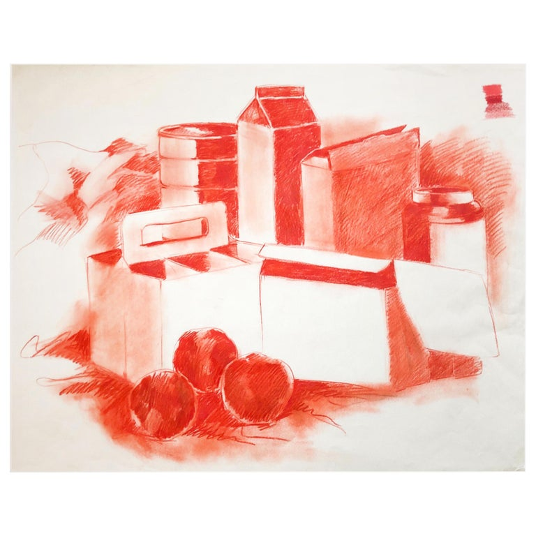 Mid-century Pop Art Red Still Life Drawing Sketch by Salvatore Grippi, 1960s Mod For Sale