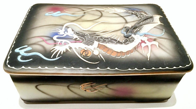 Japanese Midcentury Porcelain Hand-Painted Dragonware Smoking S/3 For Sale