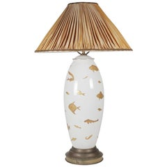 Midcentury Porcelain Hand-Painted Table Lamp with Gilt Painted Fish