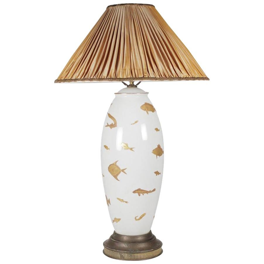 Midcentury Porcelain Hand Painted Table Lamp with Gilt Painted Fish