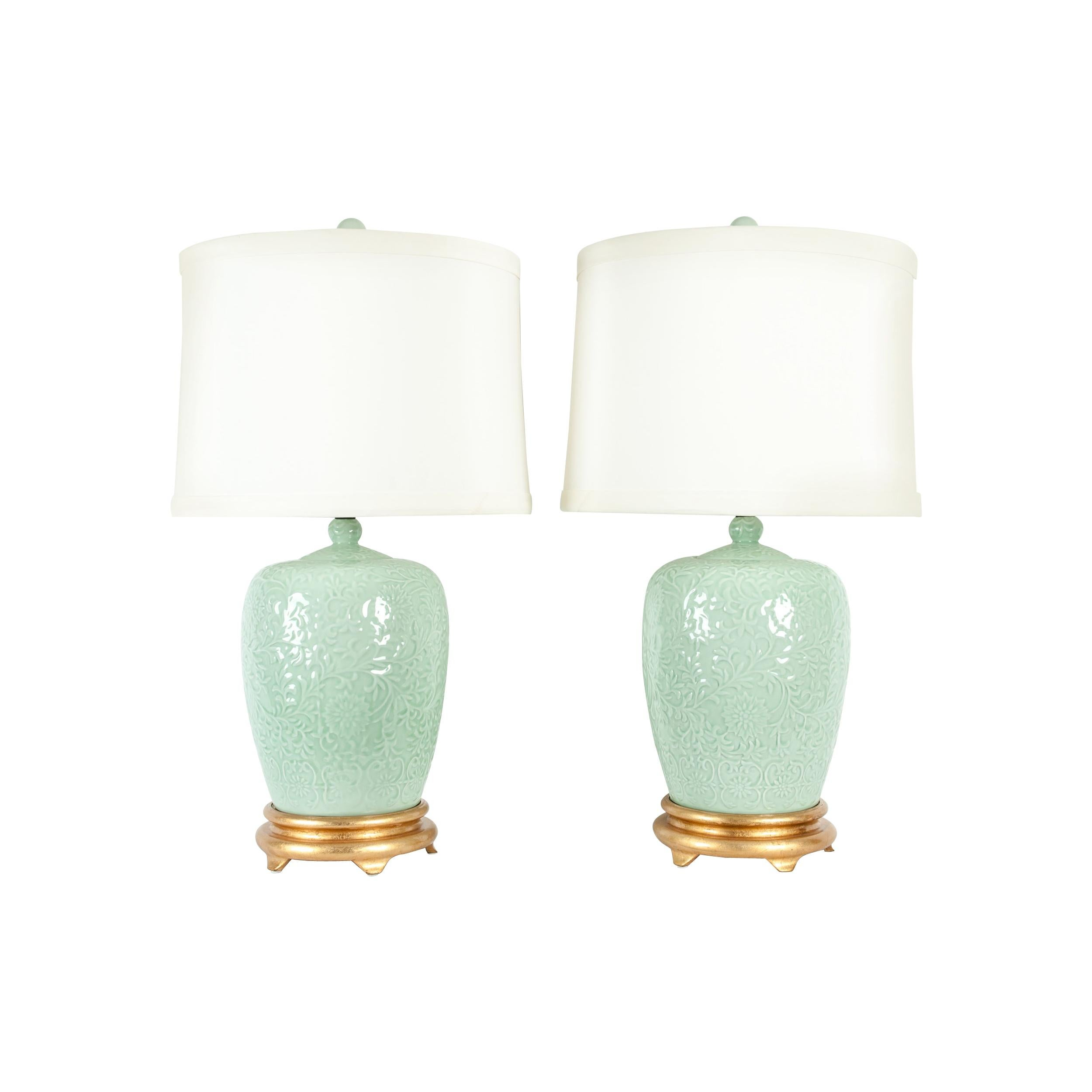 Midcentury Porcelain Pair of Lamp / Gilded Wooden Base