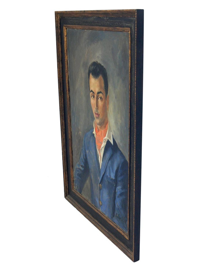 Midcentury portrait of a Dapper Dandy by Peter Sheil, American, circa 1950s. Sheil's work is in the collections of several museums, including the Victoria and Albert Museum. This work retains its original painted and giltwood frame.