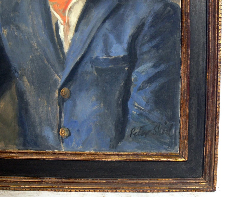 Midcentury Portrait of a Dapper Dandy by Peter Sheil In Good Condition For Sale In Atlanta, GA