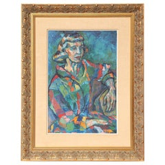 Midcentury Portrait of a Lady Painting, circa 1950, Blue, Red & Green