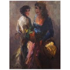 Midcentury Portrait of Two Women by Dutch Painter Jan Rijlaarsdam