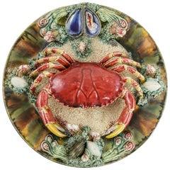 Midcentury Portuguese Majolica Palissy Style Plate with Crab Jose Alvaro Caldas