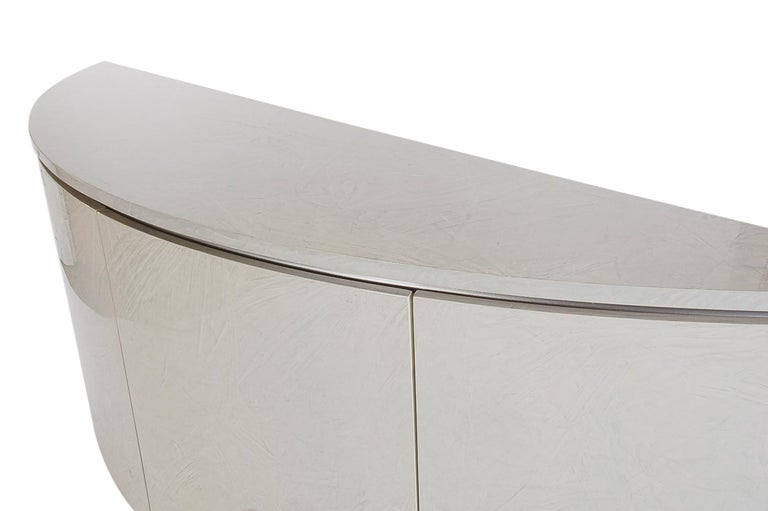 Italian Midcentury Post Modern Demilune Credenza or Cabinet in Glossy Laminate For Sale