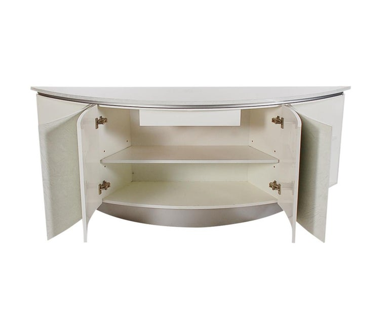 Midcentury Post Modern Demilune Credenza or Cabinet in Glossy Laminate For Sale 1