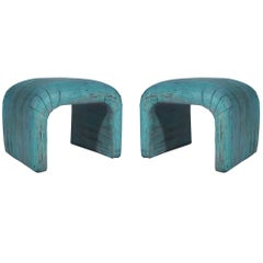 Midcentury Postmodern Waterfall Upholstered Bench Set or Poufs