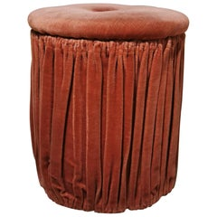 Midcentury Pouf in Smooth Velvet, 1960s, Italy Design