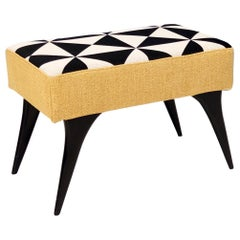 Midcentury Pouf with Black, White and Yellow Fabric, Italy