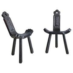 Midcentury Rustic Spanish Tripod Stool, Side Chair, 1950s, Spain