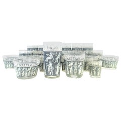 Midcentury Printed Glass Wedgwood Blue Hellenic Drinks Set of 28 Pieces