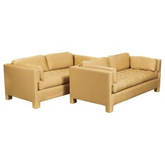 Midcentury Probber or Wormley Style Tan Upholstered Sofa Couches, a Pair