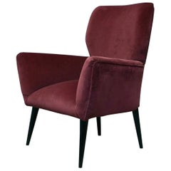 Midcentury Purple Color Velvet Italian Armchair, 1950
