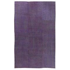 Midcentury Purple Handmade Wool Rag Rug