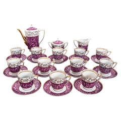 Midcentury Purple Porcelain Service for 12 People, Poland