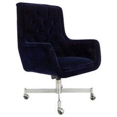 Midcentury Purple Velvet Tufted Rolling Office Desk Chair