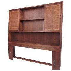 Midcentury Queen Size Storage Headboard
