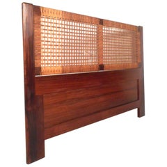 Midcentury Queen Sized Rosewood and Cane Headboard