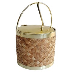 Midcentury Raffia and Gold Ice Bucket by Kraftware Co.
