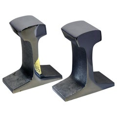 Midcentury Railroad Track Chrome Bookends