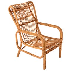 Midcentury Rattan and Bamboo Italian Armchair Attributed to Franco Albini 1960s
