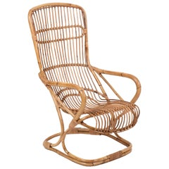 Midcentury Rattan and Bamboo Italian Armchair Attributed to Tito Agnoli, 1960s