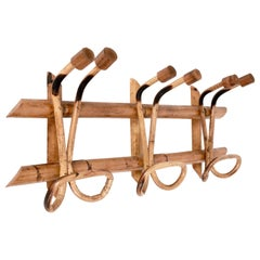 Midcentury Rattan and Bamboo Italian Coat Rack attributed to Franco Albini, 1961