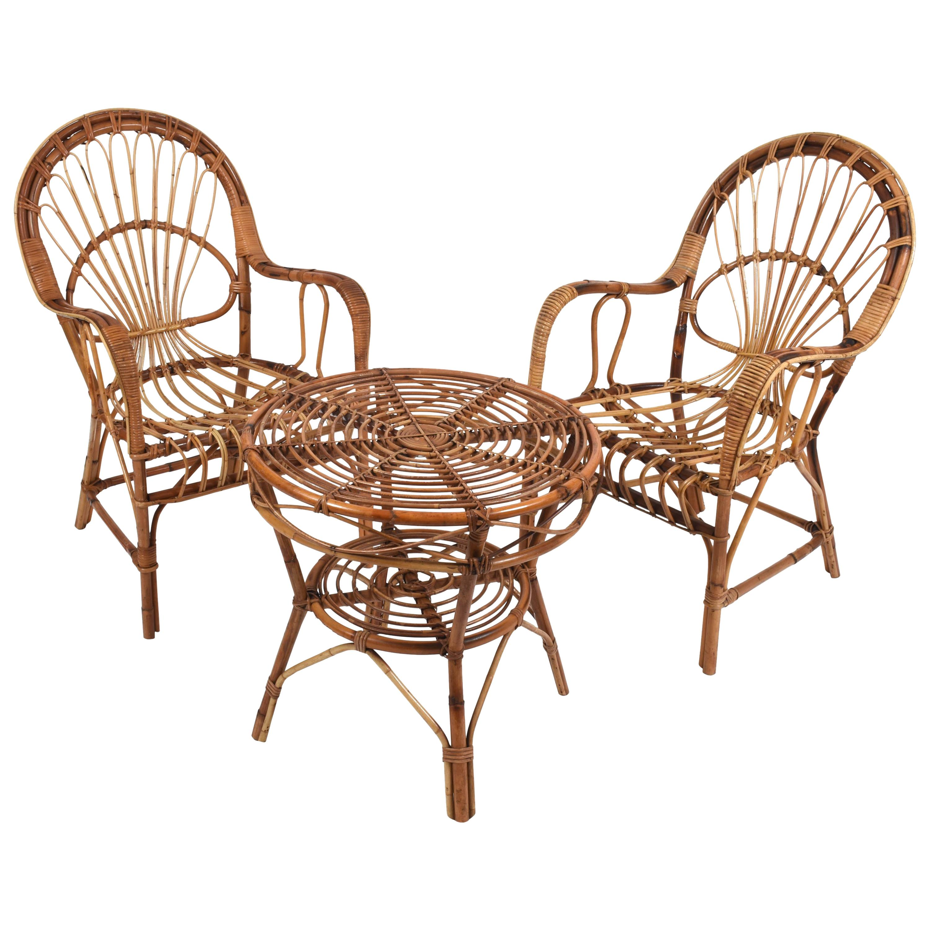 Midcentury Rattan and Bamboo Italian Set of Two Armchairs and Coffee Table 1970s