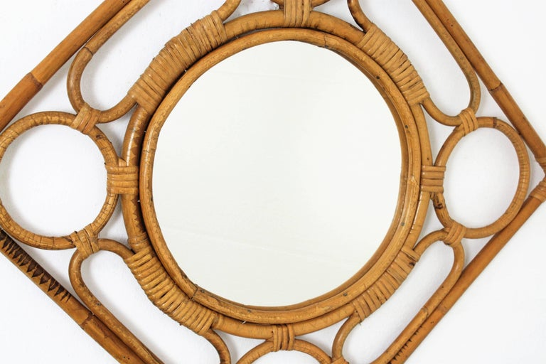 Mid-Century Modern Spanish Modernist Rattan Bamboo Rhombus Mirror with Geometric Decorative Details For Sale
