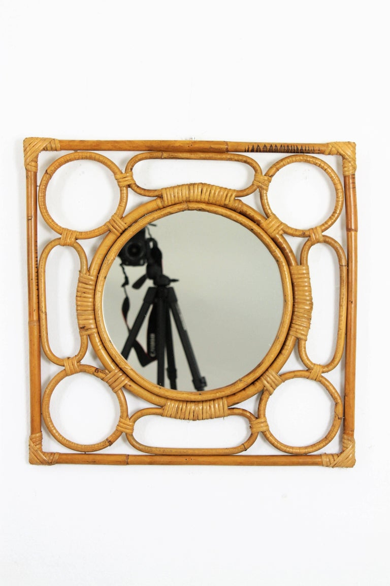 Hand-Crafted Spanish Modernist Rattan Bamboo Rhombus Mirror with Geometric Decorative Details For Sale