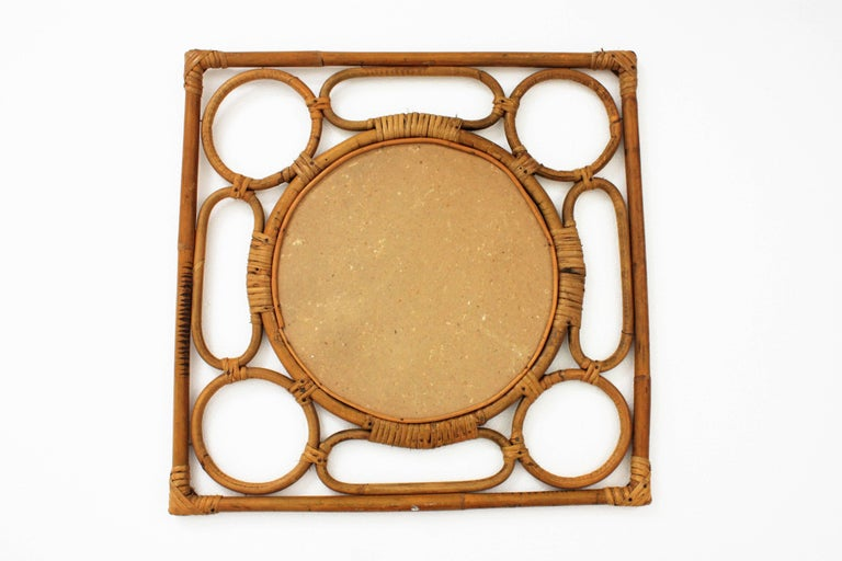 Cane Spanish Modernist Rattan Bamboo Rhombus Mirror with Geometric Decorative Details For Sale