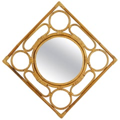 Spanish Modernist Rattan Bamboo Rhombus Mirror with Geometric Decorative Details