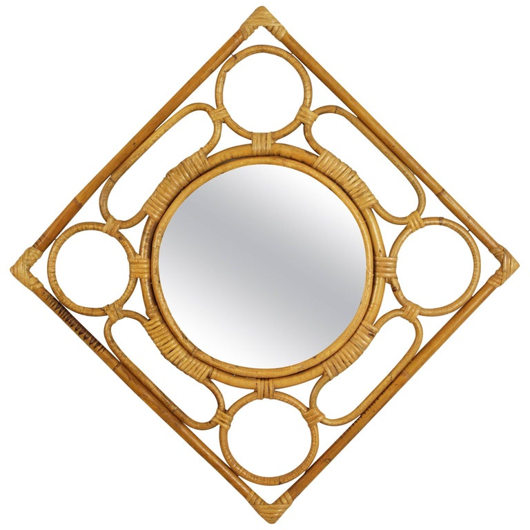 Spanish Modernist Rattan Bamboo Rhombus Mirror with Geometric Decorative Details For Sale