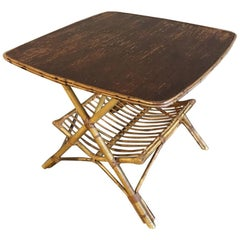 Midcentury Rattan and Bamboo Table with Magazine Rack