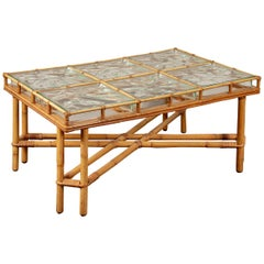 Midcentury Rattan and Glass Block Cocktail Table