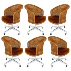 Midcentury Rattan and Stainless Steel Swivel Chairs, Daystrom Furniture Set of 6