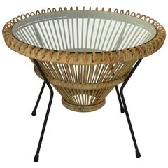 Midcentury Rattan Coffee Table in the Style of Franco Albini, Italian, 1950s